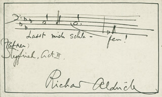 RICHARD ALDRICH - AUTOGRAPH MUSICAL QUOTATION SIGNED