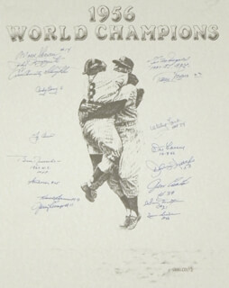 Autographs: THE NEW YORK YANKEES - PRINTED ART SIGNED CO-SIGNED BY: YOGI BERRA, JIM COATES, BILL MOOSE SKOWRON, ANDY CAREY, TOMMY BYRNE, BOBBY RICHARDSON, WHITEY FORD, IRV NOREN, SONNY DIXON, GIL McDOUGALD, PHIL RIZZUTO, ENOS SLAUGHTER, NORM SIEBERN, JOHNNY KUCKS, DON LARSEN, JERRY LUMPE, HANK BAUER