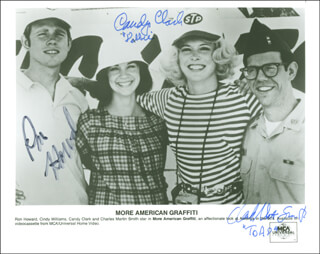 Autographs: MORE AMERICAN GRAFFITI MOVIE CAST (1979) - PHOTOGRAPH SIGNED CO-SIGNED BY: CANDY CLARK, RON HOWARD, CHARLES MARTIN SMITH