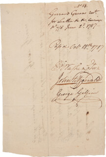 PRESIDENT GEORGE WASHINGTON - DOCUMENT SIGNED 10/18/1787 CO-SIGNED BY: JOHN FITZGERALD, GEORGE GILPIN, GERRARD GREEN