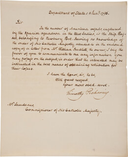 GENERAL TIMOTHY PICKERING - MANUSCRIPT LETTER SIGNED 01/11/1796