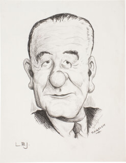Autographs: PRESIDENT LYNDON B. JOHNSON - ORIGINAL ART SIGNED CO-SIGNED BY: RANSLEM