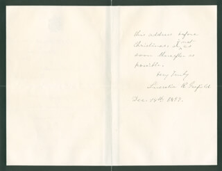FIRST LADY LUCRETIA R. GARFIELD - AUTOGRAPH LETTER SIGNED 12/18/1899