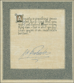 Autographs: BRIGADIER GENERAL JAMES H. JIMMY DOOLITTLE - QUOTATION SIGNED
