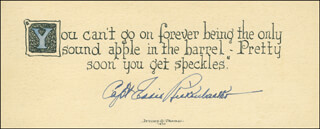 Autographs: MAJOR EDWARD V. EDDIE RICKENBACKER - QUOTATION SIGNED