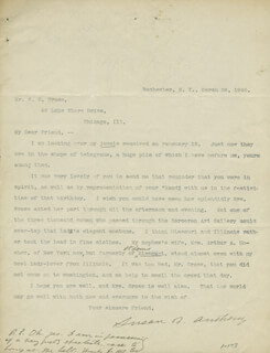 Autographs: SUSAN B. ANTHONY - TYPED LETTER SIGNED 03/28/1900 CO-SIGNED BY: SAMUEL EBERLEY GROSS