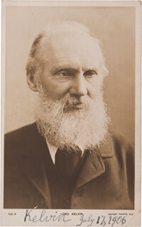 Autographs: LORD KELVIN (WILLIAM THOMSON) - PICTURE POST CARD SIGNED 07/17/1906