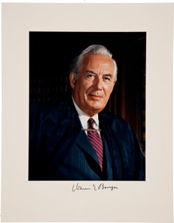 CHIEF JUSTICE WARREN E. BURGER - PHOTOGRAPH MOUNT SIGNED