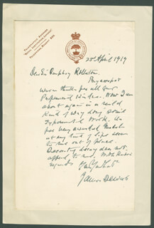 SIR JAMES DEWAR - AUTOGRAPH LETTER SIGNED 04/23/1919