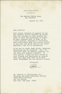 PRESIDENT RICHARD M. NIXON - TYPED LETTER SIGNED 08/30/1971