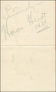 HORACE HEIDT - AUTOGRAPH SENTIMENT SIGNED 1939