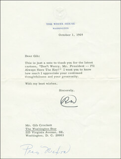 PRESIDENT RICHARD M. NIXON - TYPED LETTER SIGNED 10/01/1969
