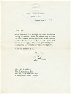 PRESIDENT RICHARD M. NIXON - TYPED LETTER SIGNED 12/22/1971