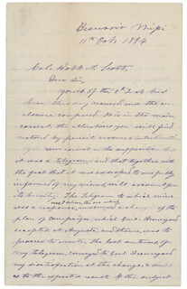 PRESIDENT JEFFERSON DAVIS (CONFEDERATE STATES OF AMERICA) - AUTOGRAPH LETTER SIGNED 10/11/1884