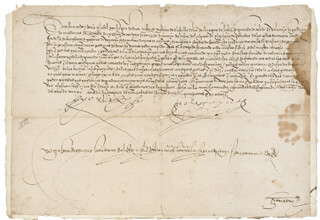 KING FERDINAND V (SPAIN) - MANUSCRIPT DOCUMENT SIGNED 5/28/1501 CO-SIGNED BY: QUEEN ISABELLA I (SPAIN), GASPAR DE TRIZIO