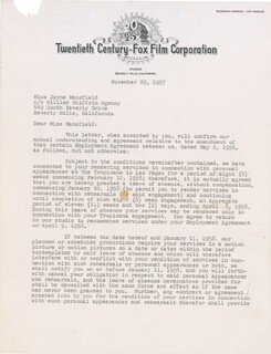 JAYNE MANSFIELD - DOCUMENT SIGNED 11/29/1957