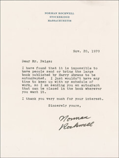 NORMAN ROCKWELL - TYPED LETTER SIGNED 11/20/1970