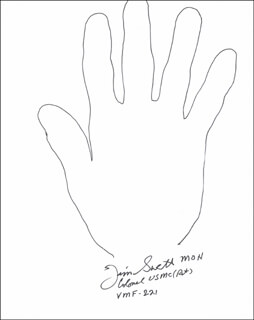 Autographs: COLONEL JAMES E. SWETT - HAND/FOOT PRINT OR SKETCH SIGNED