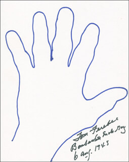 ENOLA GAY CREW (COLONEL THOMAS W. FEREBEE) - HAND/FOOT PRINT OR SKETCH SIGNED