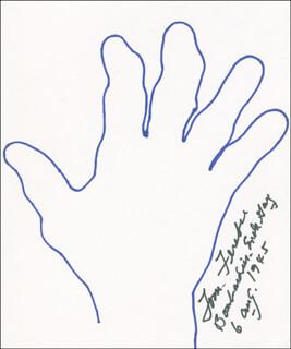Autographs: ENOLA GAY CREW (COLONEL THOMAS W. FEREBEE) - HAND/FOOT PRINT OR SKETCH SIGNED