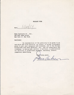DANA ANDREWS - DOCUMENT SIGNED 12/22/1954