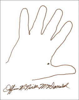 Autographs: MAURICE NICK McDONALD - HAND/FOOT PRINT OR SKETCH SIGNED