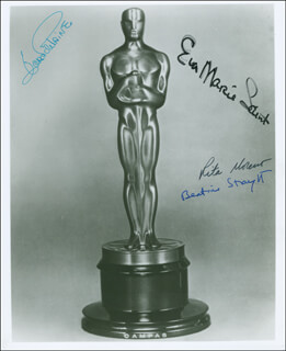 JOAN FONTAINE - AUTOGRAPHED SIGNED PHOTOGRAPH CO-SIGNED BY: EVA MARIE SAINT, BEATRICE STRAIGHT, RITA MORENO