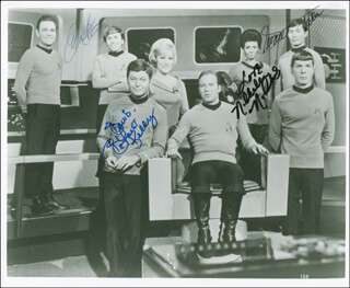 STAR TREK TV CAST - AUTOGRAPHED SIGNED PHOTOGRAPH CO-SIGNED BY: NICHELLE NICHOLS, WALTER KOENIG, GEORGE TAKEI, DEFOREST KELLEY