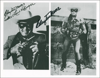 CLAYTON THE LONE RANGER MOORE - AUTOGRAPHED SIGNED PHOTOGRAPH