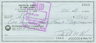 RALPH KINER - AUTOGRAPHED SIGNED CHECK 03/12/1989