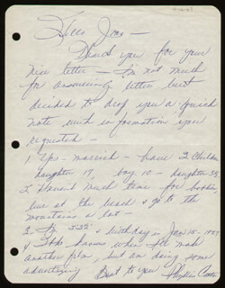 PHYLLIS COATES - AUTOGRAPH LETTER SIGNED CIRCA 1967
