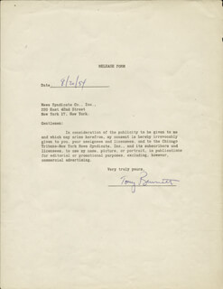 TONY BENNETT - DOCUMENT SIGNED 08/20/1954
