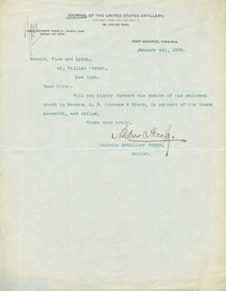 MAJOR GENERAL ANDREW HERO, JR. - TYPED LETTER SIGNED 01/04/1905