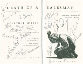 DEATH OF A SALESMAN BROADWAY CAST - BOOK SIGNED CO-SIGNED BY: ARTHUR MILLER, BRIAN DENNEHY, KEVIN ANDERSON, TED KOCH, HOWARD WITT, ELIZABETH FRANZ, KATE BUDDEKE, BARBARA EDA-YOUNG, ALLEN HAMILTON, KENT KLINEMAN, STEPHANIE MARCH, STEVE PICKERING, RICHARD THOMPSON, STEVE CELL, ROBERT G. BREULER, RON (RONALD JASON) ELDARD