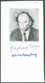 Autographs: ALLEN GINSBERG - ILLUSTRATION SIGNED CO-SIGNED BY: RAPHAEL SOYER
