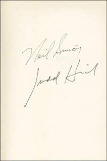 NEIL DOC SIMON - BOOK SIGNED CO-SIGNED BY: JUDD HIRSCH