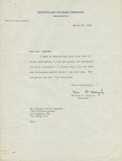 Autographs: ASSOCIATE JUSTICE WILLIAM O. DOUGLAS - TYPED LETTER SIGNED 03/30/1938