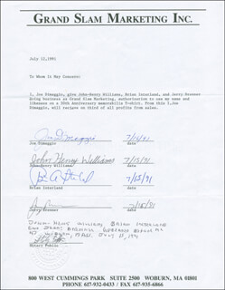 Autographs: JOE DIMAGGIO - CONTRACT SIGNED 07/16/1991 CO-SIGNED BY: JOHN HENRY WILLIAMS, BRIAN INTERLAND, JERRY BRENNER