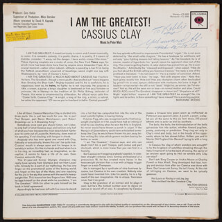 MUHAMMAD THE GREATEST ALI - INSCRIBED RECORD ALBUM COVER SIGNED 12/19/1973