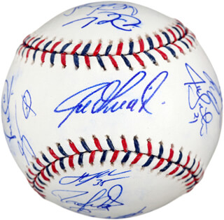 Autographs: 2010 AMERICAN LEAGUE ALL STAR TEAM - BASEBALL SIGNED CO-SIGNED BY: DEREK JETER, MIGUEL CABRERA, JOE GIRARDI, VERNON WELLS, DAVID PRICE, ELVIS ANDRUS, ICHIRO SUZUKI, IAN KINSLER, RAFAEL SORIANO, ANDREW BAILEY