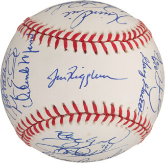 THE CHICAGO CUBS - AUTOGRAPHED SIGNED BASEBALL CO-SIGNED BY: SAMMY SOSA, LANCE JOHNSON, KERRY WOOD, MARK CLARK, KEVIN ORIE, KEVIN TAPANI, JIM RIGGLEMAN, SCOTT SERVAIS, MARK (AMAZING) GRACE, JOSE HERNANDEZ, MANNY ALEXANDER, TYLER HOUSTON, GARY GAETTI, MATT MIESKE, PEDRO VALDES, TERRY LOWERY, ORLANDO MERCED, STEVE TRACHSEL, GEREMI GONZALEZ, AMAURY TELEMACO, MARC PISCIOTTA, BOB PATTERSON, ROD BECK, CHRIS HANEY, TONY FOSSAS