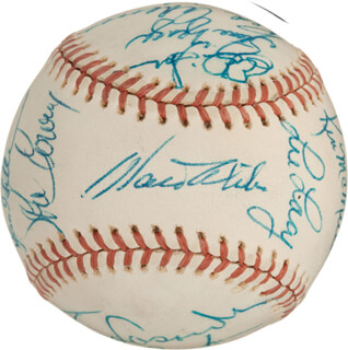 Autographs: THE LOS ANGELES DODGERS - BASEBALL SIGNED CO-SIGNED BY: CHARLIE HOUGH, RED ADAMS, TOM PACIOREK, AL LITTLE AL DOWNING, VON JOSHUA, BILL BILLY BUCKS BUCKNER, GEOFF ZAHN, LEE LACY, KEN McMULLEN, RON CEY, MANNY MOTA, WALTER E. SMOKEY ALSTON, TOM LASORDA, STEVE GARVEY, DOUG RAU, STEVE YEAGER