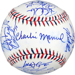 Autographs: 2010 NATIONAL LEAGUE ALL STAR TEAM - BASEBALL SIGNED CO-SIGNED BY: CHARLIE CHUCK MANUEL, SAM PERLOZZO, PETE MACKANIN, SCOTT ROLEN, MATT HOLLIDAY, CHRIS YOUNG, DAVID WRIGHT, ADAM WAINWRIGHT, ADRIAN GONZALEZ, ANDRE ETHIER, ARTHUR RHODES, BRANDON PHILLIPS, BRIAN MCCANN, BRIAN WILSON, CHRIS CARPENTER, COREY HART, EVAN MEEK, HEATH BELL, JONATHAN BROXTON, JOSHUA JOHNSON, MARLON BYRD, MATT CAPPS, ROY HALLADAY, MICHAEL BOURN, MICHAEL MICK BILLMEYER, RAPHAEL FURCAL, RICH DUBEE, MILT THOMPSON, RYAN BRAUN, TIM HUDSON, TROY TULOWITZKI, YOVANI GALLARDO