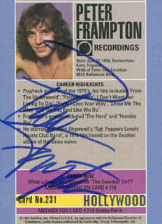 PETER FRAMPTON - TRADING/SPORTS CARD SIGNED