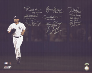 Autographs: DENNIS THE ECK ECKERSLEY - PHOTOGRAPH SIGNED CO-SIGNED BY: LEE SMITH, BRUCE SUTTER, JEFF THE TERMINATOR REARDON, ROLLIE FINGERS, DOUG JONES, RICH GOOSE GOSSAGE, JOHN WETTELAND, ROBERTO HERNANDEZ, ROBB NEN