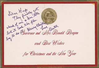 PRESIDENT RONALD REAGAN - AUTOGRAPH NOTE SIGNED
