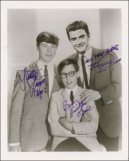 MY THREE SONS TV CAST - AUTOGRAPHED SIGNED PHOTOGRAPH CO-SIGNED BY: STANLEY LIVINGSTON, BARRY LIVINGSTON, TIM CONSIDINE