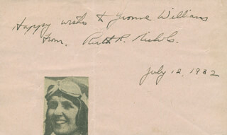 Autographs: RUTH ROWLAND NICHOLS - AUTOGRAPH NOTE SIGNED 07/12/1932