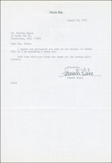 AMANDA MISS KITTY BLAKE - TYPED LETTER SIGNED 08/10/1973