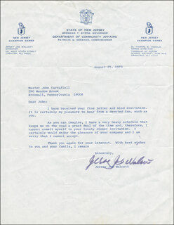 JOE JERSEY JOE WALCOTT - TYPED LETTER SIGNED 08/29/1975